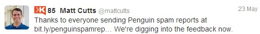 Matt Cutts Twitter Penguin 2 Spam Report